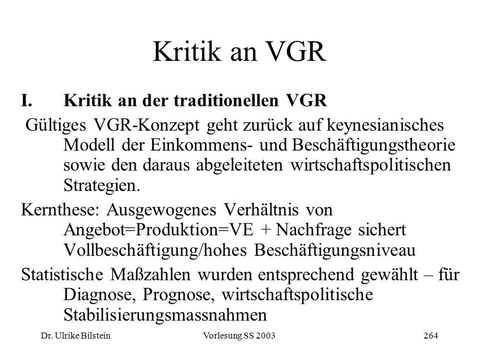 Dr. Ulrike BilsteinVorlesung SS 2003264 Kritik an VGR I.Kritik an der traditionellen VGR Gültiges VGR-Konzept geht zurück auf keynesianisches Modell d