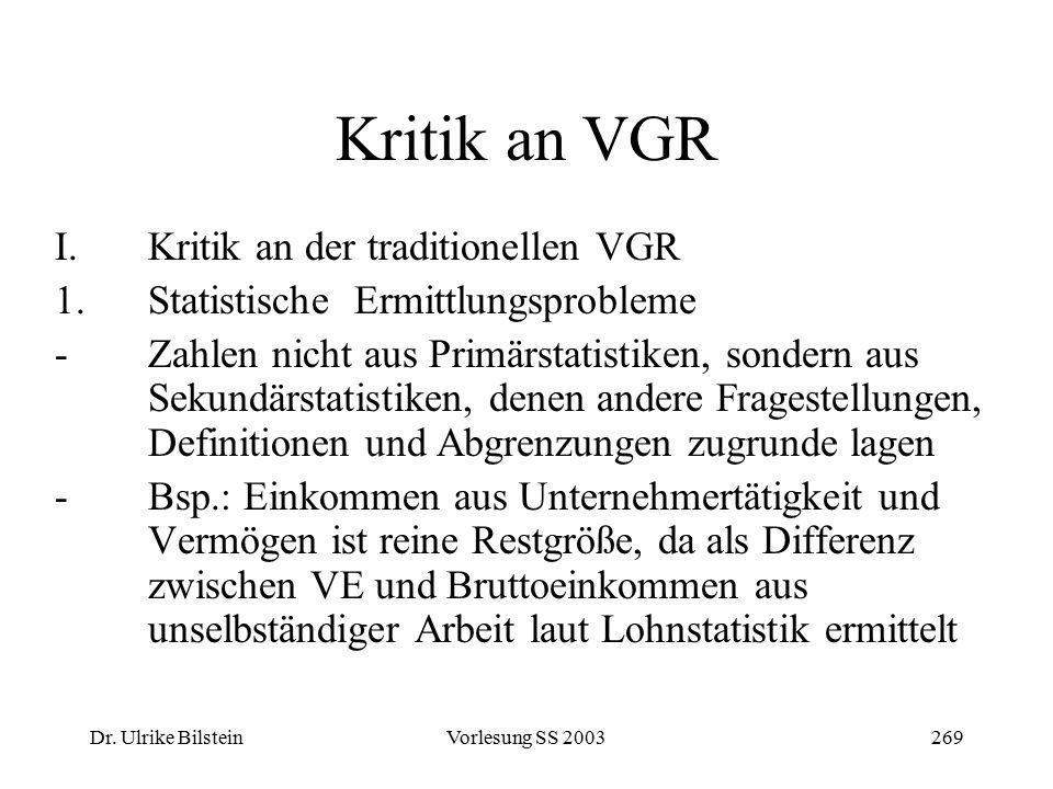 Dr. Ulrike BilsteinVorlesung SS 2003269 Kritik an VGR I.Kritik an der traditionellen VGR 1.Statistische Ermittlungsprobleme -Zahlen nicht aus Primärst