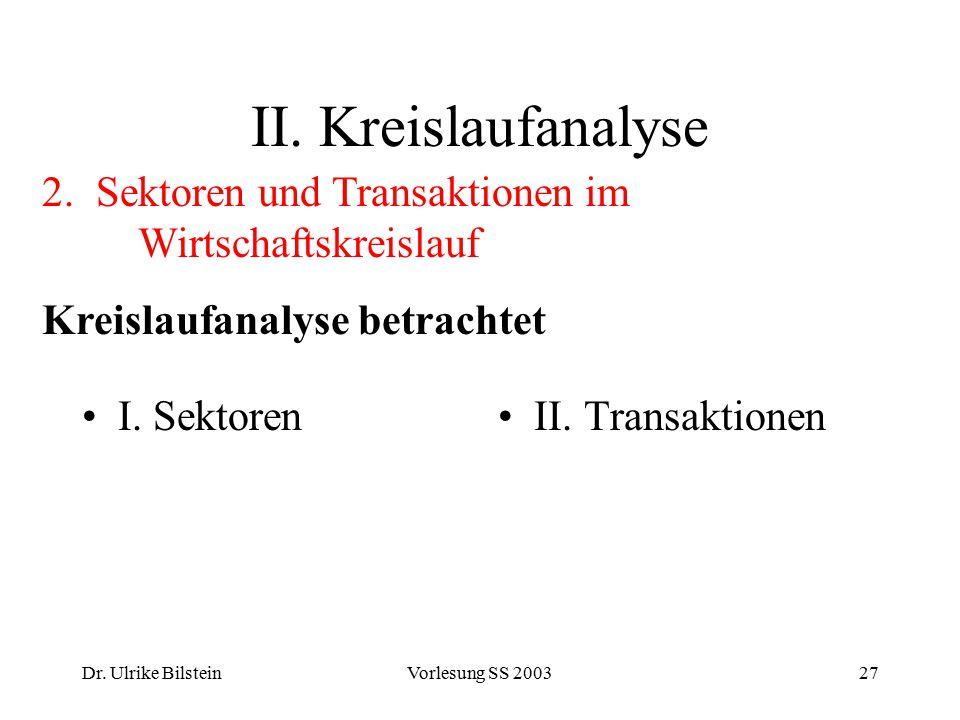 Dr. Ulrike BilsteinVorlesung SS 200327 II. Kreislaufanalyse I. SektorenII. Transaktionen 2. Sektoren und Transaktionen im Wirtschaftskreislauf Kreisla