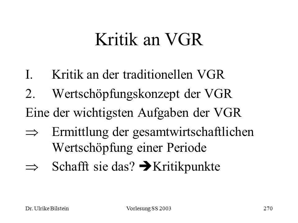 Dr. Ulrike BilsteinVorlesung SS 2003270 Kritik an VGR I.Kritik an der traditionellen VGR 2.Wertschöpfungskonzept der VGR Eine der wichtigsten Aufgaben