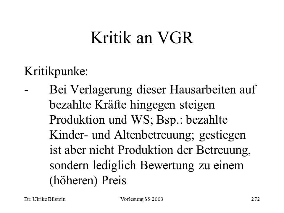 Dr. Ulrike BilsteinVorlesung SS 2003272 Kritik an VGR Kritikpunke: -Bei Verlagerung dieser Hausarbeiten auf bezahlte Kräfte hingegen steigen Produktio