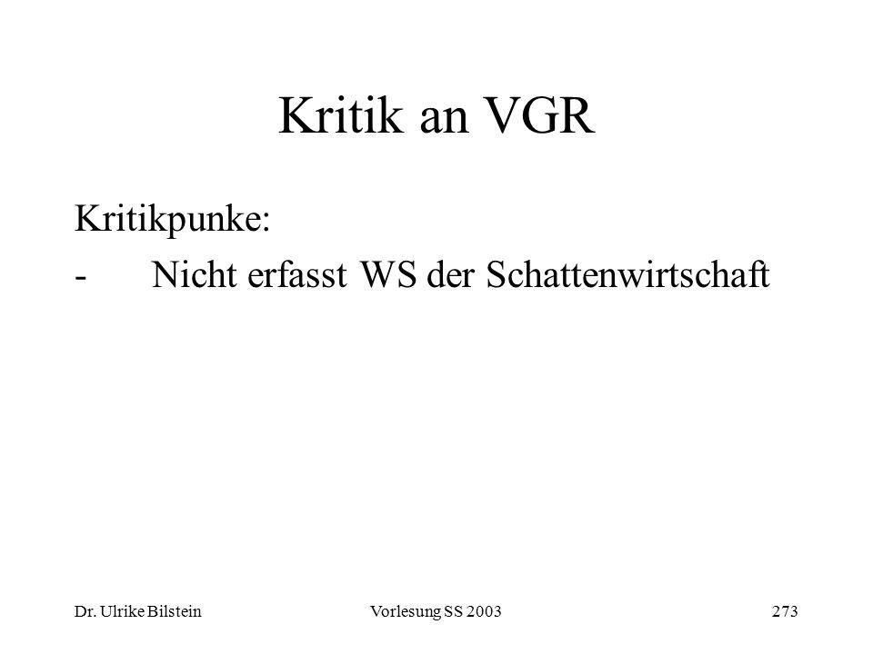 Dr. Ulrike BilsteinVorlesung SS 2003273 Kritik an VGR Kritikpunke: -Nicht erfasst WS der Schattenwirtschaft