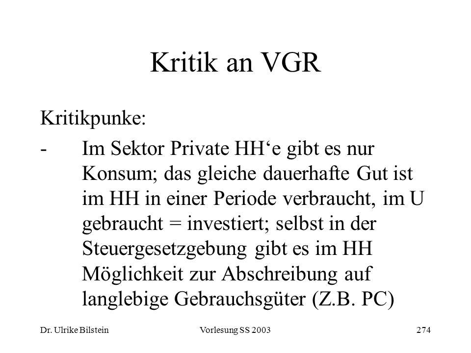 Dr. Ulrike BilsteinVorlesung SS 2003274 Kritik an VGR Kritikpunke: -Im Sektor Private HH'e gibt es nur Konsum; das gleiche dauerhafte Gut ist im HH in