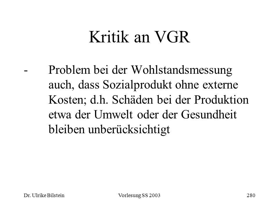 Dr. Ulrike BilsteinVorlesung SS 2003280 Kritik an VGR -Problem bei der Wohlstandsmessung auch, dass Sozialprodukt ohne externe Kosten; d.h. Schäden be