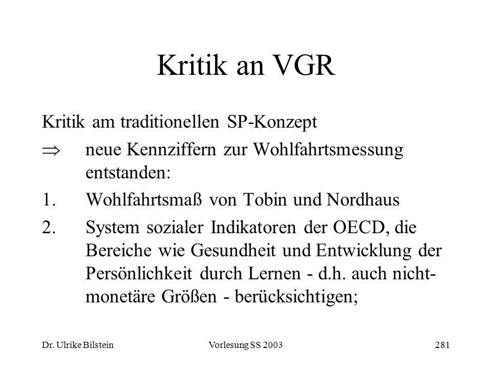 Dr. Ulrike BilsteinVorlesung SS 2003281 Kritik an VGR Kritik am traditionellen SP-Konzept  neue Kennziffern zur Wohlfahrtsmessung entstanden: 1.Wohlf