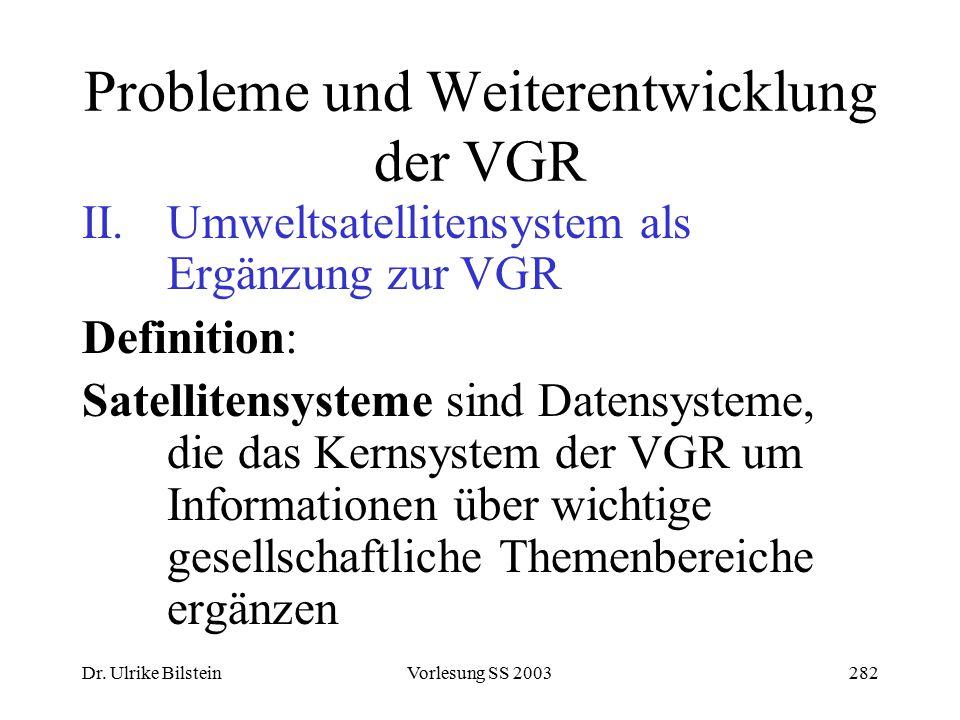 Dr. Ulrike BilsteinVorlesung SS 2003282 Probleme und Weiterentwicklung der VGR II. Umweltsatellitensystem als Ergänzung zur VGR Definition: Satelliten
