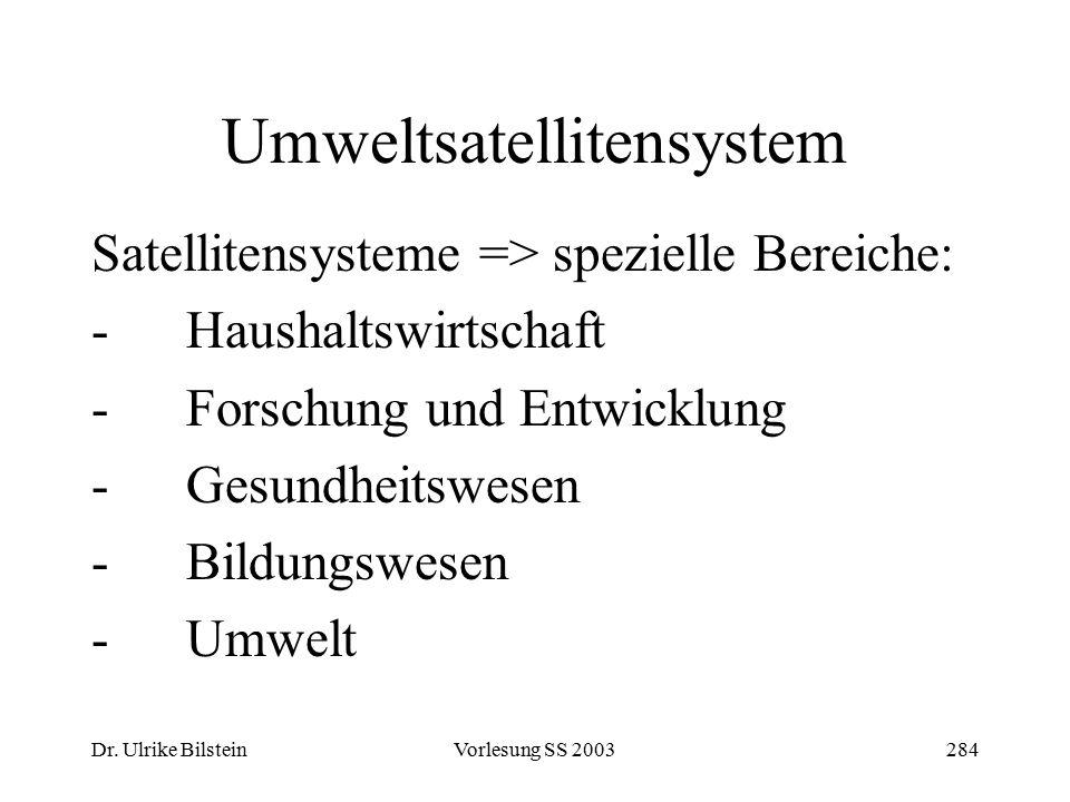 Dr. Ulrike BilsteinVorlesung SS 2003284 Umweltsatellitensystem Satellitensysteme => spezielle Bereiche: -Haushaltswirtschaft -Forschung und Entwicklun