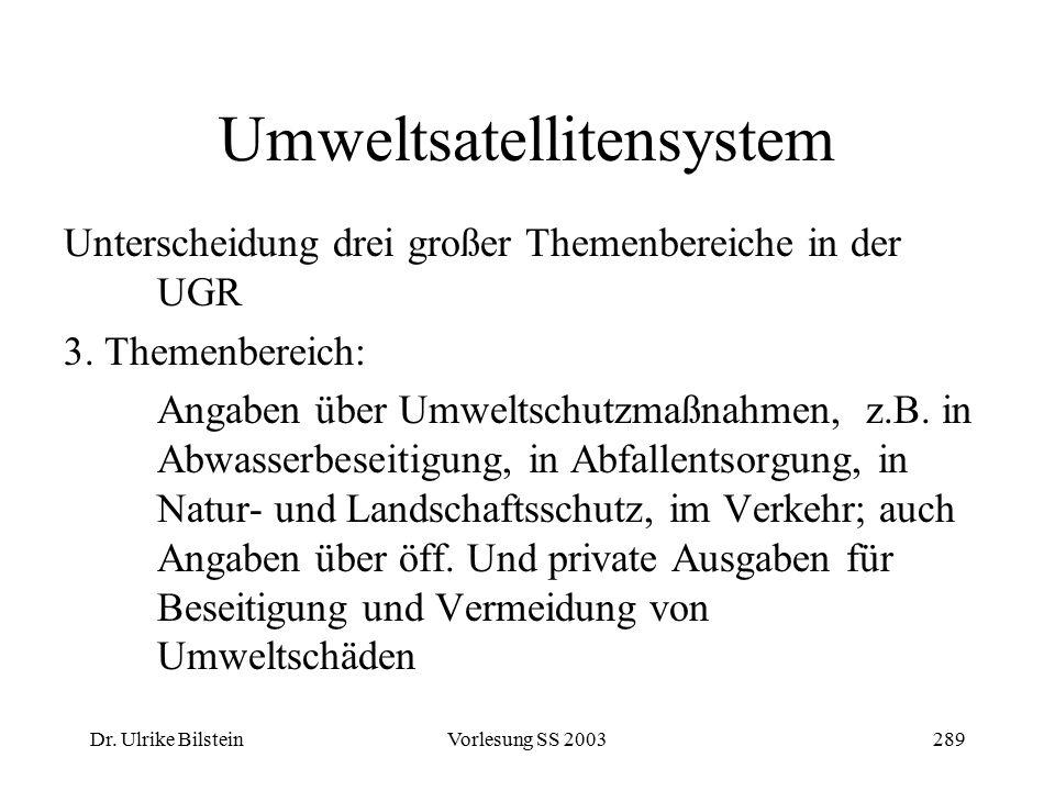 Dr. Ulrike BilsteinVorlesung SS 2003289 Umweltsatellitensystem Unterscheidung drei großer Themenbereiche in der UGR 3. Themenbereich: Angaben über Umw
