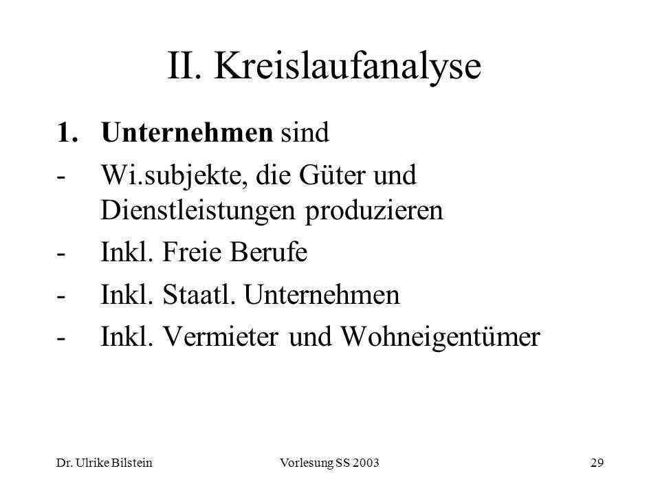 Dr. Ulrike BilsteinVorlesung SS 200329 II. Kreislaufanalyse 1.Unternehmen sind -Wi.subjekte, die Güter und Dienstleistungen produzieren -Inkl. Freie B