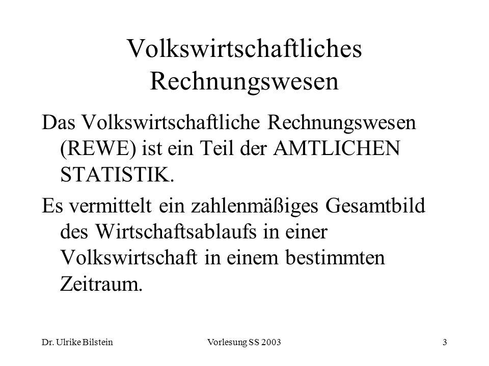 Dr. Ulrike BilsteinVorlesung SS 20033 Volkswirtschaftliches Rechnungswesen Das Volkswirtschaftliche Rechnungswesen (REWE) ist ein Teil der AMTLICHEN S