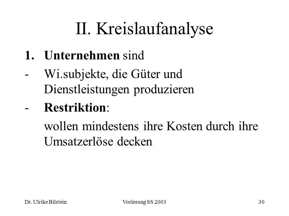 Dr. Ulrike BilsteinVorlesung SS 200330 II. Kreislaufanalyse 1.Unternehmen sind -Wi.subjekte, die Güter und Dienstleistungen produzieren -Restriktion: