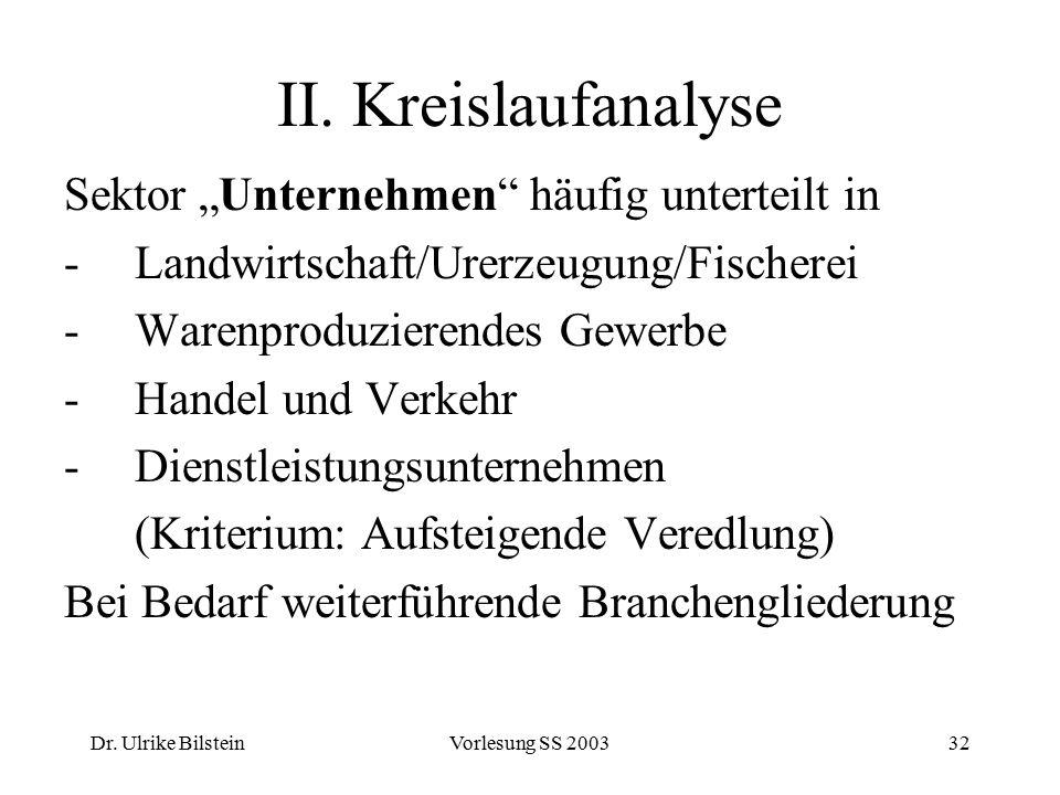 """Dr. Ulrike BilsteinVorlesung SS 200332 II. Kreislaufanalyse Sektor """"Unternehmen"""" häufig unterteilt in -Landwirtschaft/Urerzeugung/Fischerei -Warenprod"""