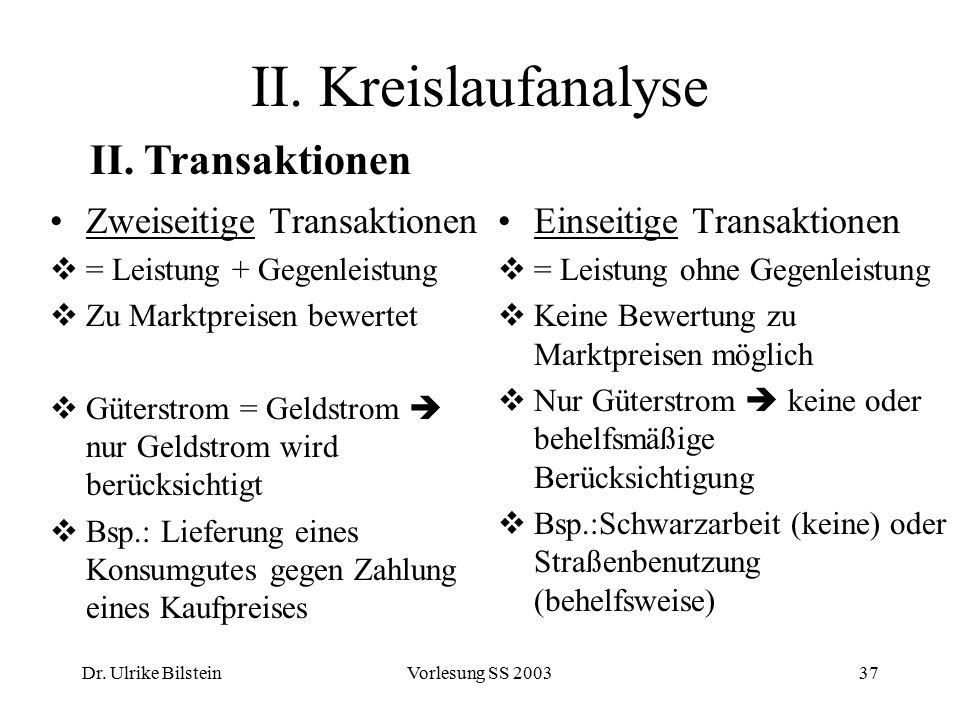 Dr. Ulrike BilsteinVorlesung SS 200337 II. Kreislaufanalyse Zweiseitige Transaktionen  = Leistung + Gegenleistung  Zu Marktpreisen bewertet  Güters