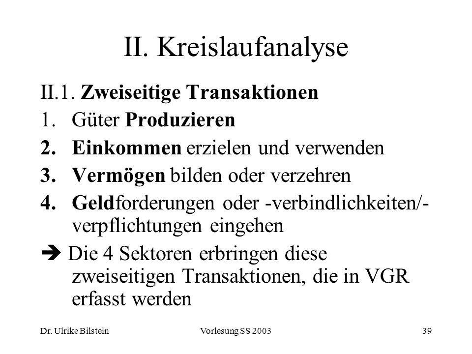 Dr. Ulrike BilsteinVorlesung SS 200339 II. Kreislaufanalyse II.1. Zweiseitige Transaktionen 1.Güter Produzieren 2.Einkommen erzielen und verwenden 3.V