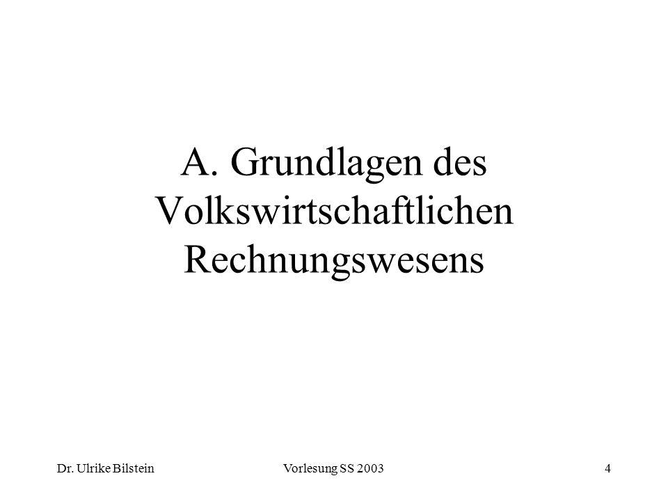 Dr.Ulrike BilsteinVorlesung SS 200375 I. Kontensystem des Statistischen Bundesamtes I.1.