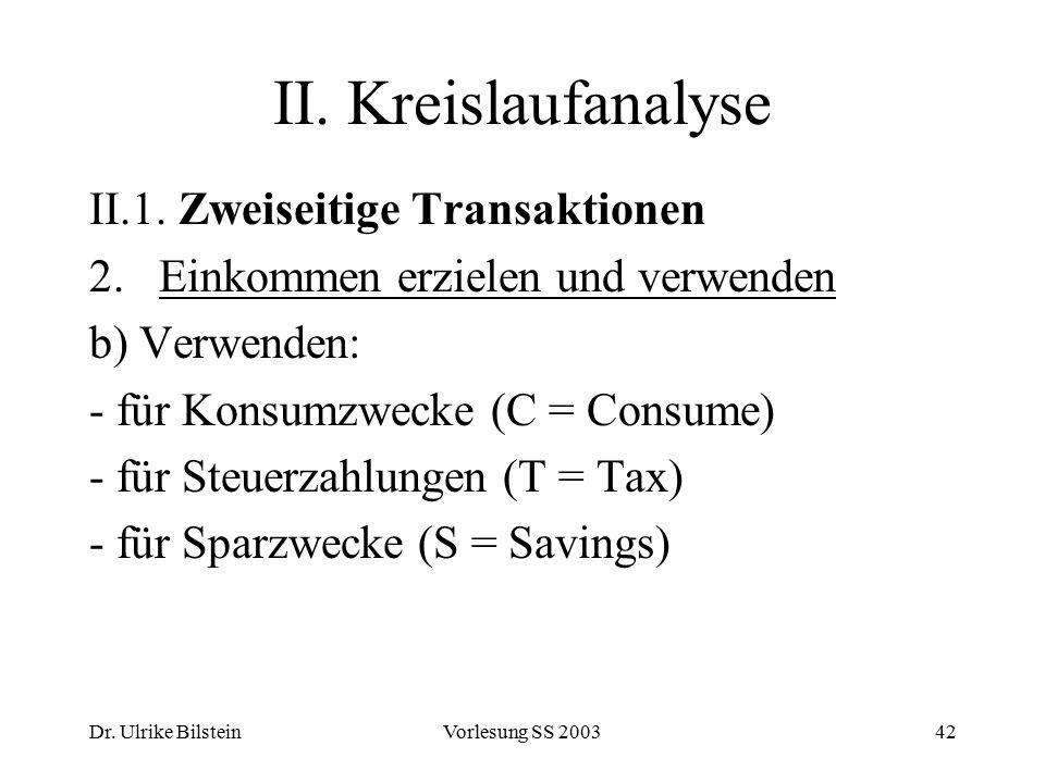 Dr. Ulrike BilsteinVorlesung SS 200342 II. Kreislaufanalyse II.1. Zweiseitige Transaktionen 2. Einkommen erzielen und verwenden b) Verwenden: - für Ko