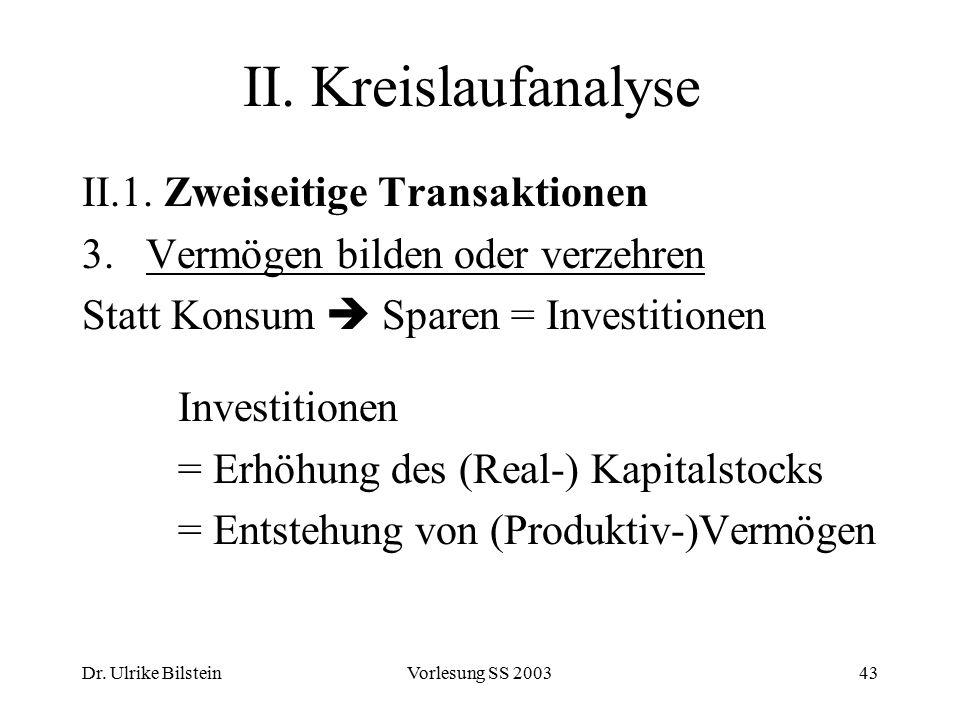Dr. Ulrike BilsteinVorlesung SS 200343 II. Kreislaufanalyse II.1. Zweiseitige Transaktionen 3. Vermögen bilden oder verzehren Statt Konsum  Sparen =