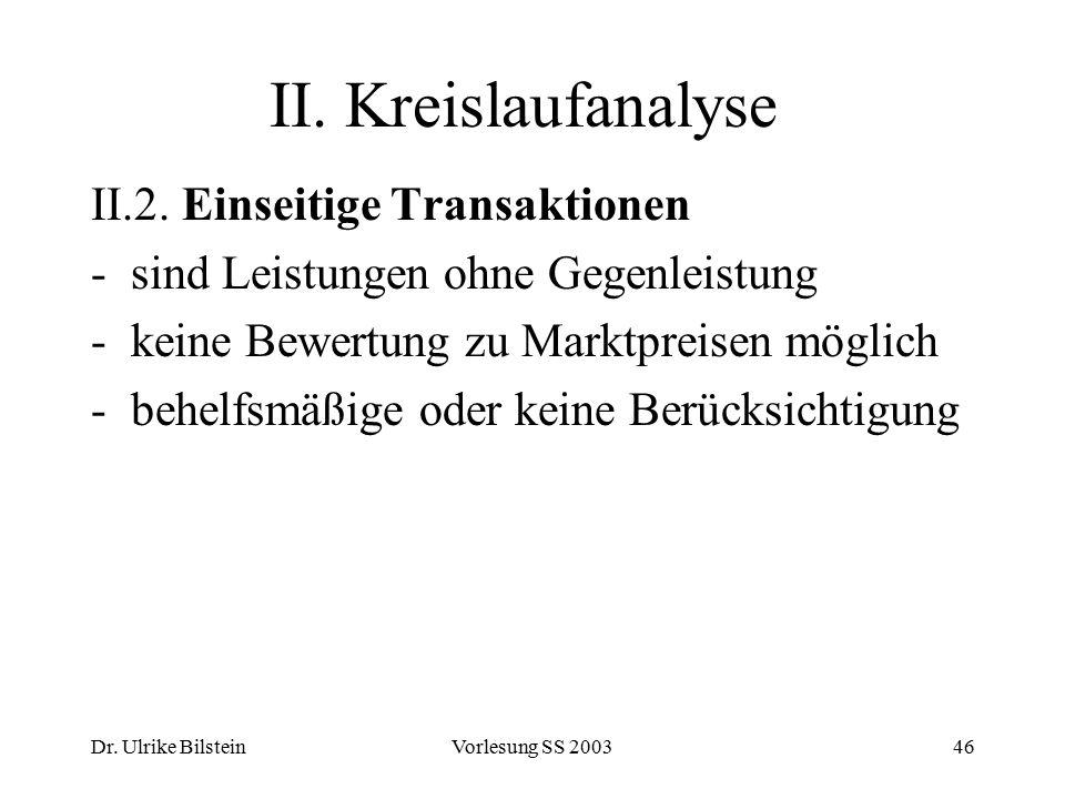Dr. Ulrike BilsteinVorlesung SS 200346 II. Kreislaufanalyse II.2. Einseitige Transaktionen -sind Leistungen ohne Gegenleistung -keine Bewertung zu Mar