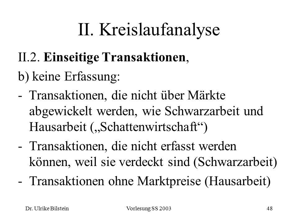 Dr. Ulrike BilsteinVorlesung SS 200348 II. Kreislaufanalyse II.2. Einseitige Transaktionen, b) keine Erfassung: - Transaktionen, die nicht über Märkte