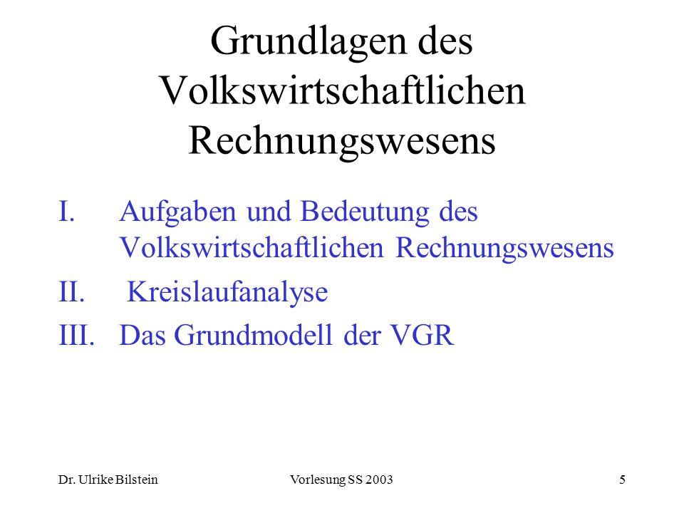 Dr. Ulrike BilsteinVorlesung SS 20035 Grundlagen des Volkswirtschaftlichen Rechnungswesens I.Aufgaben und Bedeutung des Volkswirtschaftlichen Rechnung