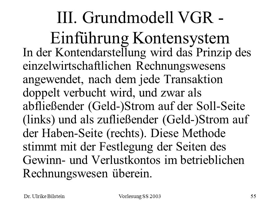 Dr. Ulrike BilsteinVorlesung SS 200355 III. Grundmodell VGR - Einführung Kontensystem In der Kontendarstellung wird das Prinzip des einzelwirtschaftli