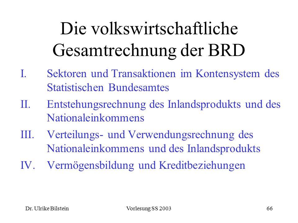 Dr. Ulrike BilsteinVorlesung SS 200366 Die volkswirtschaftliche Gesamtrechnung der BRD I.Sektoren und Transaktionen im Kontensystem des Statistischen