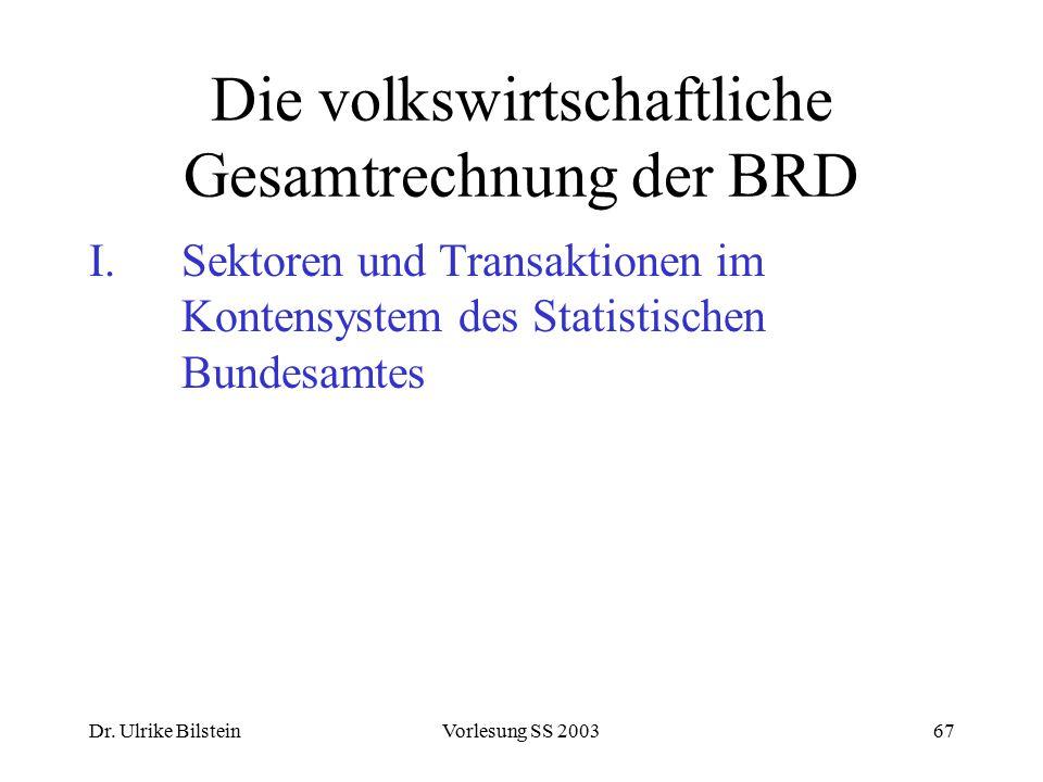 Dr. Ulrike BilsteinVorlesung SS 200367 Die volkswirtschaftliche Gesamtrechnung der BRD I.Sektoren und Transaktionen im Kontensystem des Statistischen