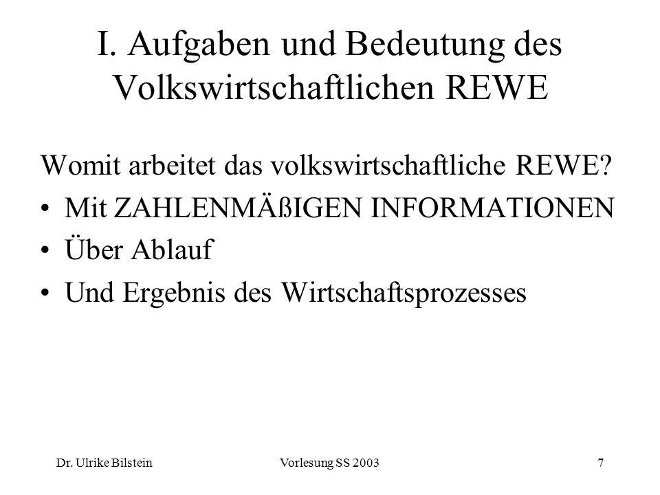 Dr. Ulrike BilsteinVorlesung SS 20037 I. Aufgaben und Bedeutung des Volkswirtschaftlichen REWE Womit arbeitet das volkswirtschaftliche REWE? Mit ZAHLE