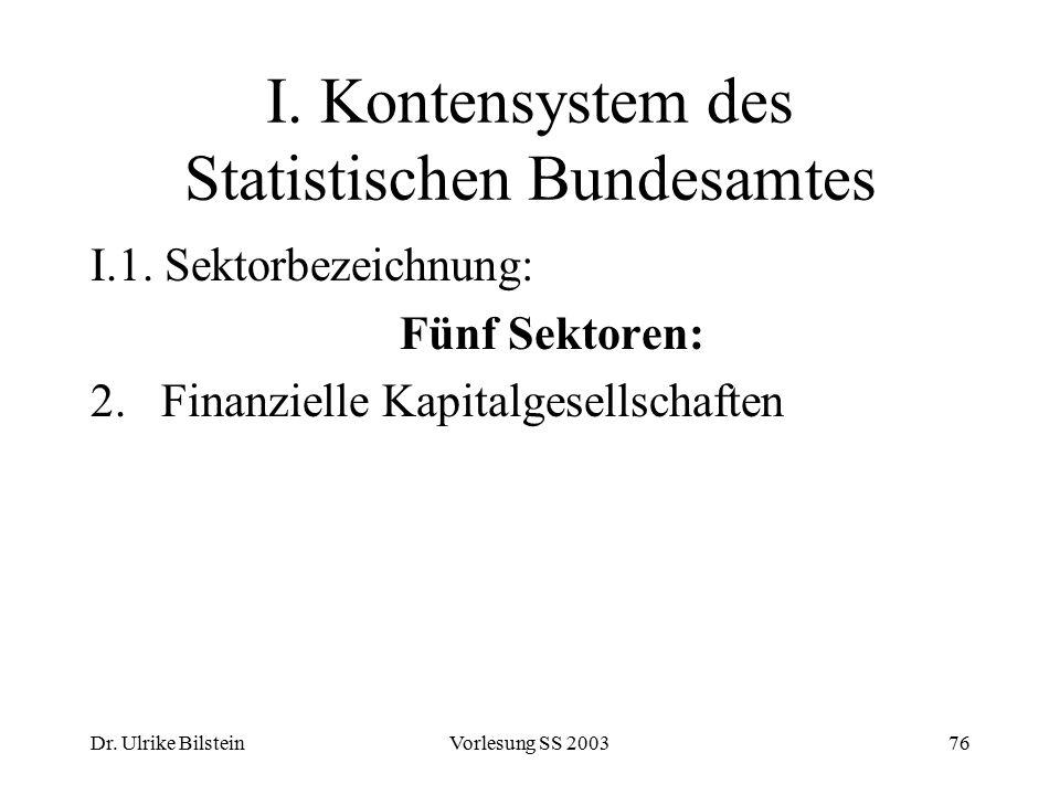 Dr. Ulrike BilsteinVorlesung SS 200376 I. Kontensystem des Statistischen Bundesamtes I.1. Sektorbezeichnung: Fünf Sektoren: 2.Finanzielle Kapitalgesel