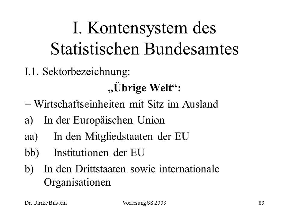 """Dr. Ulrike BilsteinVorlesung SS 200383 I. Kontensystem des Statistischen Bundesamtes I.1. Sektorbezeichnung: """"Übrige Welt"""": = Wirtschaftseinheiten mit"""