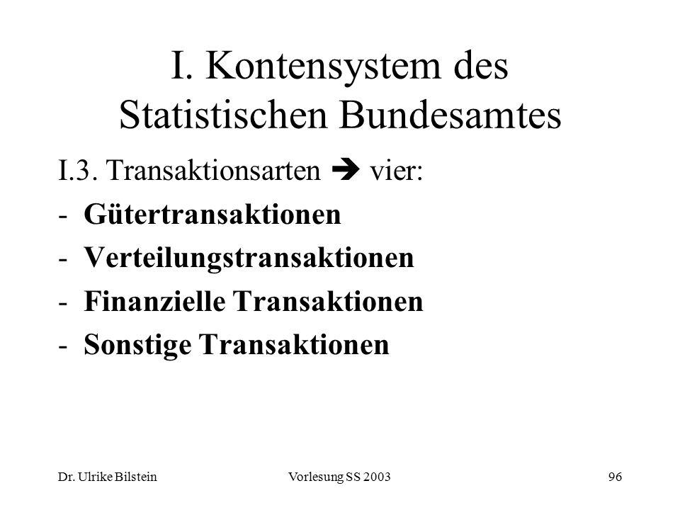 Dr. Ulrike BilsteinVorlesung SS 200396 I. Kontensystem des Statistischen Bundesamtes I.3. Transaktionsarten  vier: -Gütertransaktionen -Verteilungstr