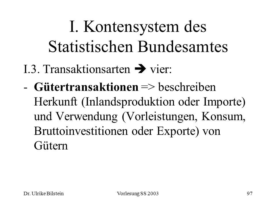Dr. Ulrike BilsteinVorlesung SS 200397 I. Kontensystem des Statistischen Bundesamtes I.3. Transaktionsarten  vier: -Gütertransaktionen => beschreiben