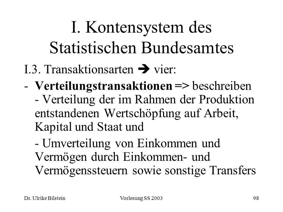 Dr. Ulrike BilsteinVorlesung SS 200398 I. Kontensystem des Statistischen Bundesamtes I.3. Transaktionsarten  vier: -Verteilungstransaktionen => besch