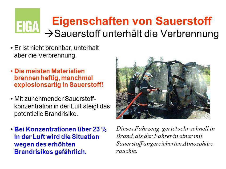 Eigenschaften von Sauerstoff  Sauerstoff unterhält die Verbrennung Er ist nicht brennbar, unterhält aber die Verbrennung. Die meisten Materialien bre