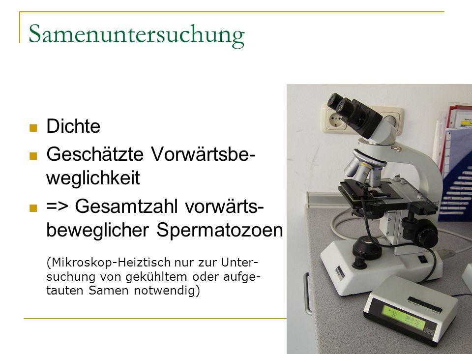 Samenuntersuchung Dichte Geschätzte Vorwärtsbe- weglichkeit => Gesamtzahl vorwärts- beweglicher Spermatozoen (Mikroskop-Heiztisch nur zur Unter- suchu