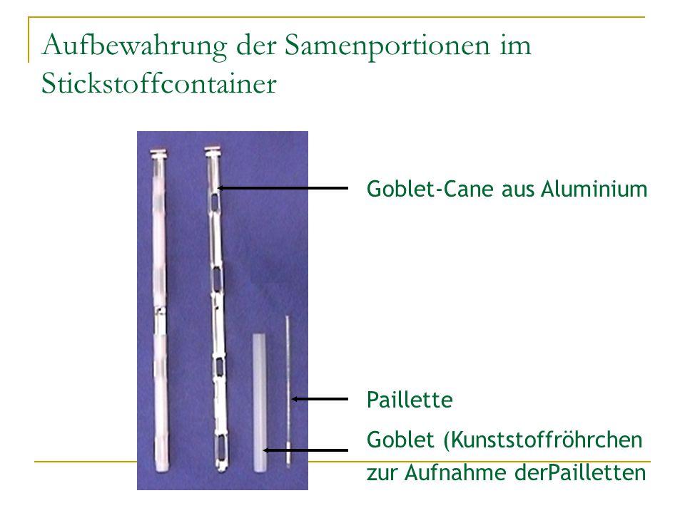 Aufbewahrung der Samenportionen im Stickstoffcontainer Paillette Goblet (Kunststoffröhrchen zur Aufnahme derPailletten Goblet-Cane aus Aluminium