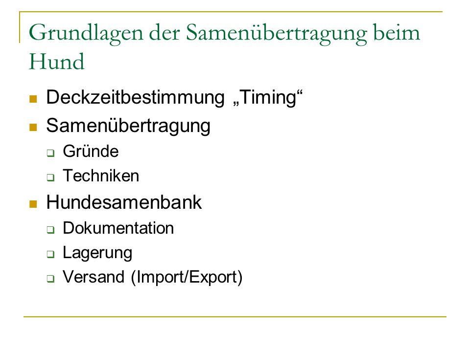 """Grundlagen der Samenübertragung beim Hund Deckzeitbestimmung """"Timing"""" Samenübertragung  Gründe  Techniken Hundesamenbank  Dokumentation  Lagerung"""