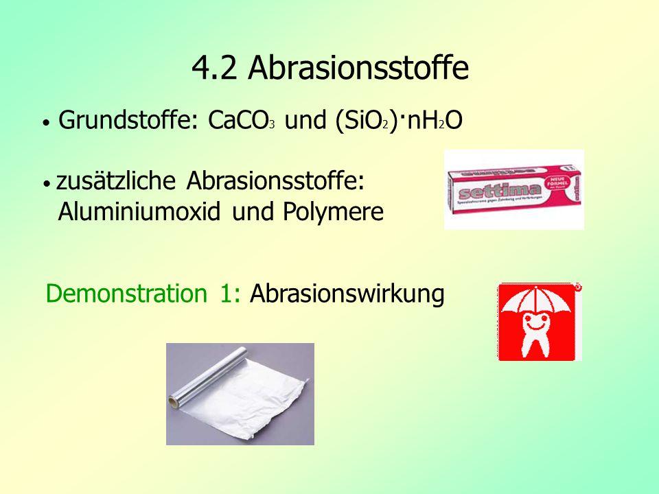 4.2 Abrasionsstoffe Demonstration 1: Abrasionswirkung Grundstoffe: CaCO 3 und (SiO 2 )·nH 2 O zusätzliche Abrasionsstoffe: Aluminiumoxid und Polymere