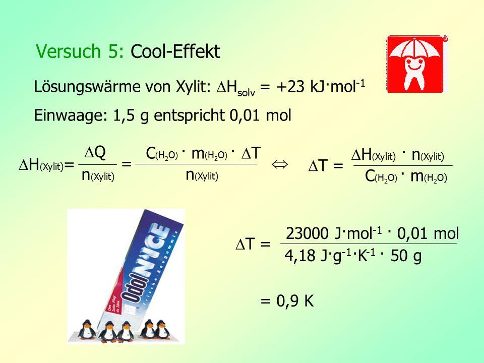Versuch 5: Cool-Effekt Lösungswärme von Xylit:  H solv = +23 kJ·mol -1 Einwaage: 1,5 g entspricht 0,01 mol  H ( Xylit) = QQ n ( Xylit) = C ( H 2 O
