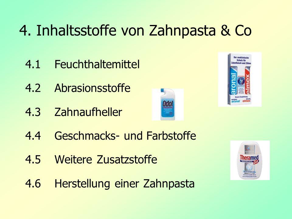 4. Inhaltsstoffe von Zahnpasta & Co 4.1 Feuchthaltemittel 4.2Abrasionsstoffe 4.3 Zahnaufheller 4.4 Geschmacks- und Farbstoffe 4.5 Weitere Zusatzstoffe