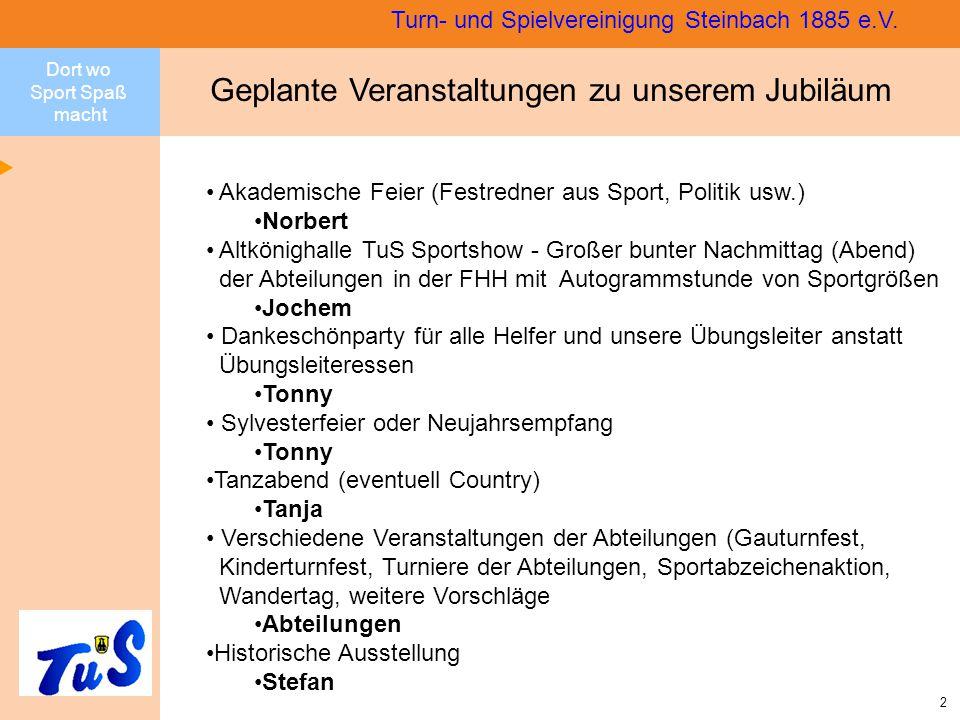 Dort wo Sport Spaß macht 13 Turn- und Spielvereinigung Steinbach 1885 e.V.