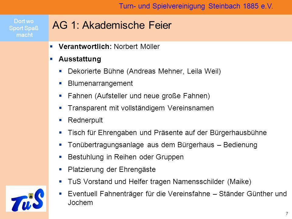 Dort wo Sport Spaß macht 8 Turn- und Spielvereinigung Steinbach 1885 e.V.