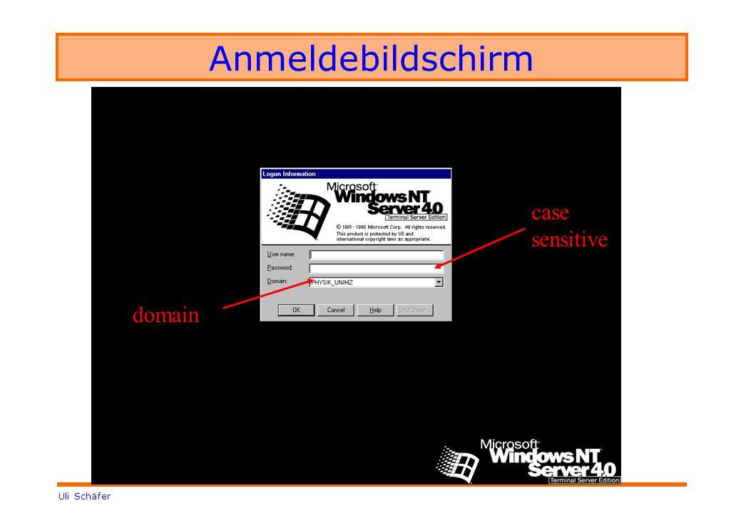 Uli Schäfer Anmeldebildschirm case sensitive domain