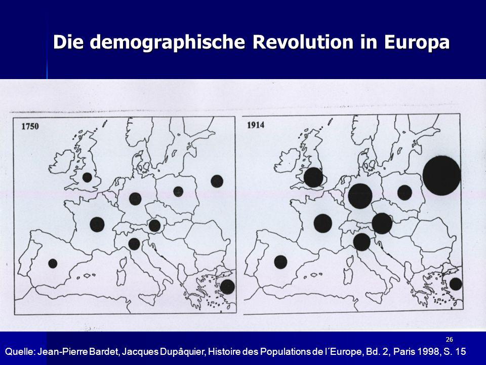 26 Die demographische Revolution in Europa Quelle: Jean-Pierre Bardet, Jacques Dupâquier, Histoire des Populations de l´Europe, Bd.