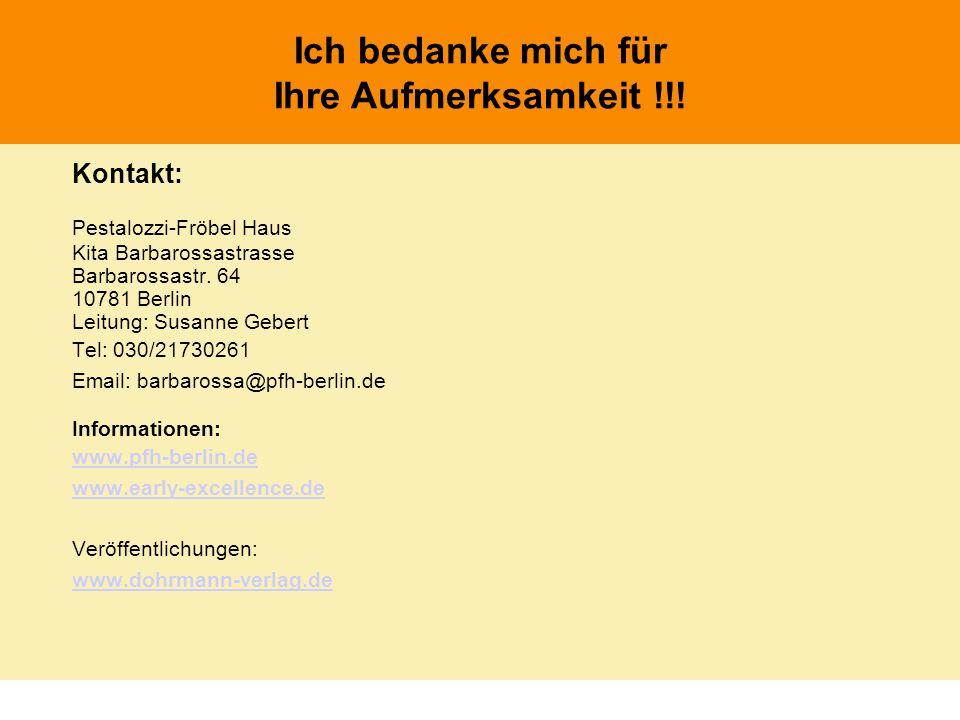 Kontakt: Pestalozzi-Fröbel Haus Kita Barbarossastrasse Barbarossastr. 64 10781 Berlin Leitung: Susanne Gebert Tel: 030/21730261 Email: barbarossa@pfh-