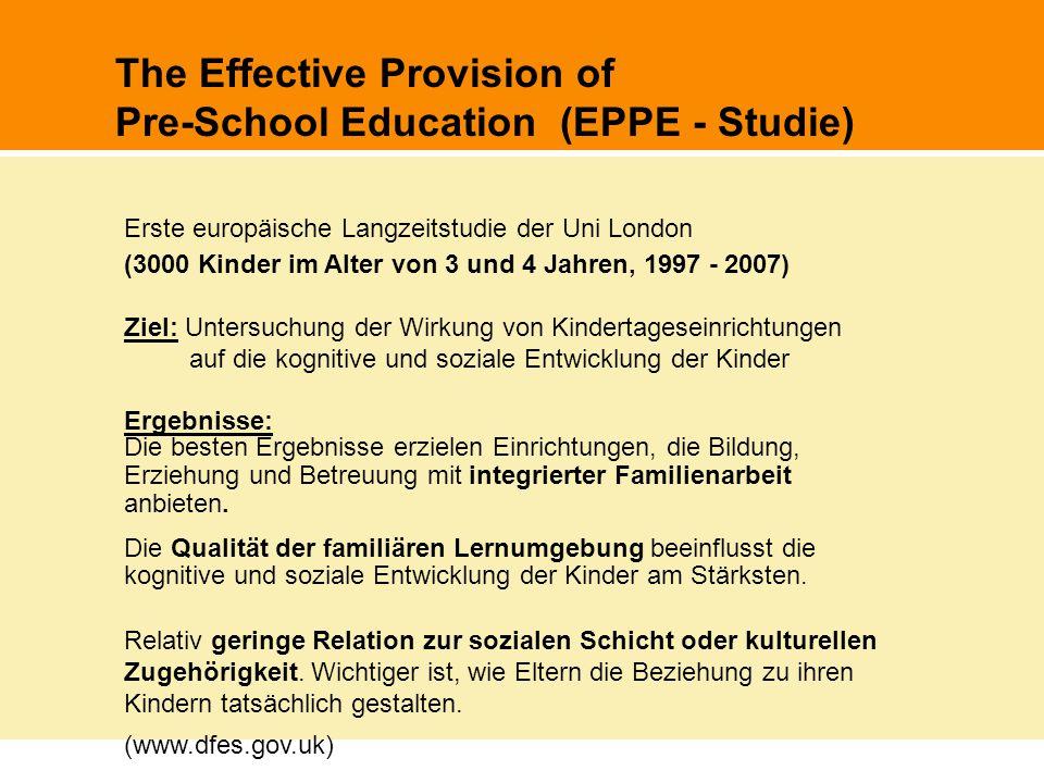 The Effective Provision of Pre-School Education (EPPE - Studie) Erste europäische Langzeitstudie der Uni London (3000 Kinder im Alter von 3 und 4 Jahr