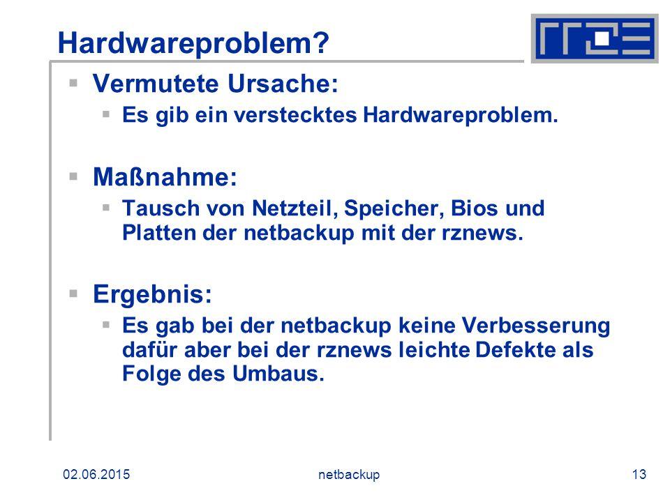 02.06.2015netbackup13 Hardwareproblem?  Vermutete Ursache:  Es gib ein verstecktes Hardwareproblem.  Maßnahme:  Tausch von Netzteil, Speicher, Bio