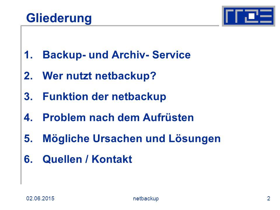 02.06.2015netbackup2 Gliederung 1.Backup- und Archiv- Service 2.Wer nutzt netbackup? 3.Funktion der netbackup 4.Problem nach dem Aufrüsten 5.Mögliche