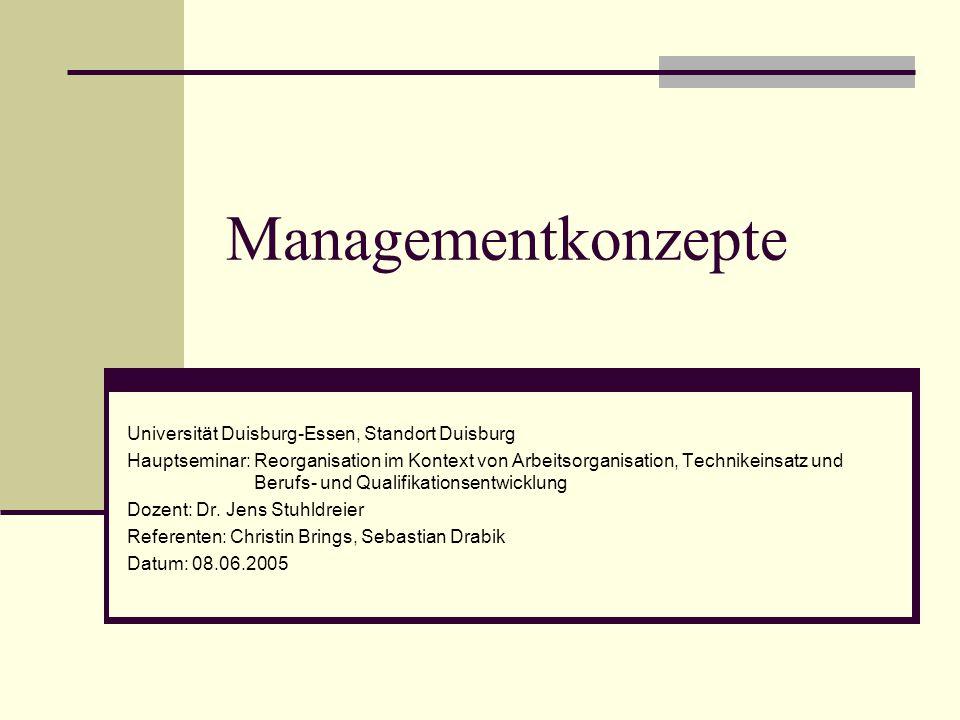 Managementkonzepte Universität Duisburg-Essen, Standort Duisburg Hauptseminar: Reorganisation im Kontext von Arbeitsorganisation, Technikeinsatz und B