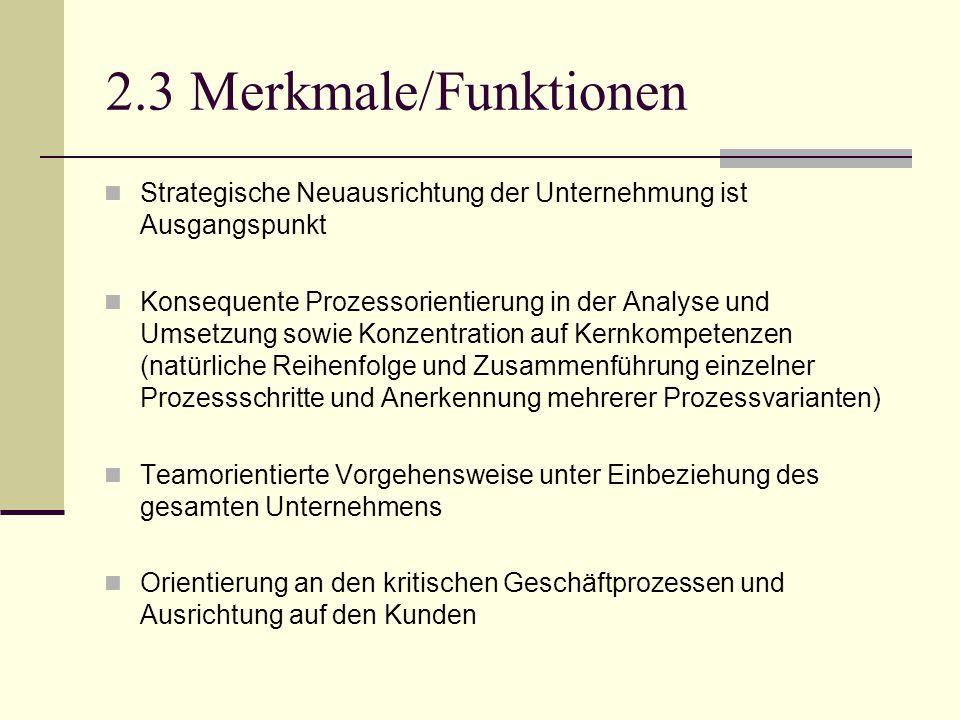 2.3 Merkmale/Funktionen Strategische Neuausrichtung der Unternehmung ist Ausgangspunkt Konsequente Prozessorientierung in der Analyse und Umsetzung so